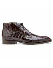 ID#SP25776 Mens Brown Cap Toe Alligator Lace Up Shoe