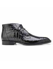 ID#SP25777 Mens Alligator Lace Up Black Cap Toe Cheap Priced Exotic Skin Shoes For Sale For Men