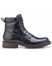ID#SP25778 Mens Blue Alligator Lace Up Cap Toe Cheap Priced Exotic Skin Shoes For Sale For Men