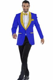 ID#SP25794 Mens Shawl Lapel Dark Royal ~ Gold Blazer Flap Pockets