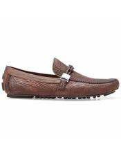ID#SP25802 Cushioned Insole Mens Brown Calf ~ Leather Slip On Cheap Priced Exotic Skin Shoes For Sale For Men