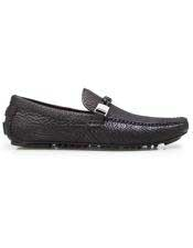 ID#SP25804 Mens Slip On Black Calf ~ Leather Shark Skin Cheap Priced Exotic Skin Shoes For Sale For Men