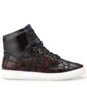 ID#SP25806 Burgundy Crocodile Mens Patch Work Lace Up Shoe