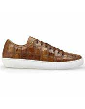 Lace Up Brown Crocodile
