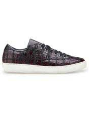 Crocodile Lace Up Burgundy