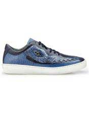 ID#SP25809 Mens Lace Up Jean Crocodile Navy ~ Blue Cheap Priced Exotic Skin Shoes For Sale For Men