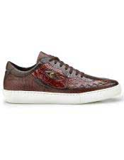 Brown Crocodile Lace Up