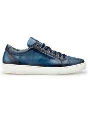 ID#SP25813 Mens Authentic Belvedere Brand Blue Lace Up Ostrich Cheap Priced Exotic Skin Shoes For Sale For Men