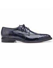 ID#SP25823 Mens Blue Ostrich Lace Up Cheap Priced Exotic Skin Shoes For Sale For Men