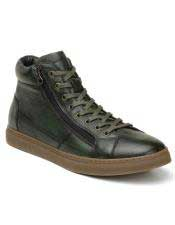 ID#SP25832 Mens Green Lace Cap Toe Up Cheap Priced Exotic Skin Shoes Sneaker For Sale For Men