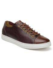 ID#SP25837 Burg ~ Cognac Mens Cushioned Insole Lace Up Shoe