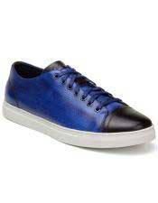 ID#SP25838 Mens Blue ~ Brown Lace Up Cheap Priced Exotic Skin Shoes For Sale For Men