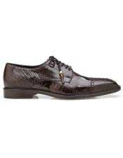 ID#SP25840 FiveEyelet Lacing Mens Brown Ostrich Lace Up Shoe