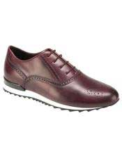 ID#SP25842 Mens Burgundy Calf ~ Leather Lace Up Cheap Priced Exotic Skin Shoes For Sale For Men