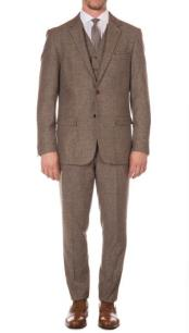 men's Ferrecci York Brown Slim Fit 3pc Herringbone Suit