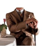 ID#SP25871 Mens Great Gatsby Leonardo Dicaprio Brown / Coffe / Taupe Vested Suit