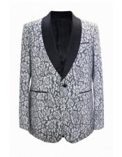 ID#SP25875 Flower Jacket Prom Custom Celebrity Modern Tux White Cheap Mens Printed Unique Patterned Print Floral Tuxedo