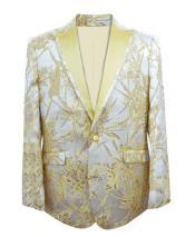 Printed Unique Patterned Print Floral Tuxedo Flower Jacket Prom Custom Cheap men's  Celebrity Modern Tux Gold
