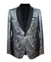 ID#SP25884 Custom Celebrity Modern Silver Cheap Mens Printed Unique Patterned Print Floral Tuxedo Flower Jacket Prom