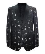 Cheap men's Printed Unique Patterned Modern Black Print Floral Tuxedo Flower Jacket Prom Custom Celebrity
