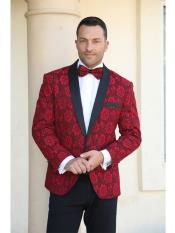 ID#SP25897 Perfect for Prom Cheap Mens Printed Unique Patterned Print Floral Tuxedo Flower Jacket Prom Custom Celebrity Modern Tux Red