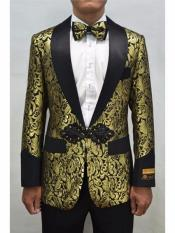 ID#SP25902 Cheap Black and Gold ~ Black Mens Printed Unique Patterned Print Floral Tuxedo Flower Jacket Prom Custom Celebrity Modern Tux
