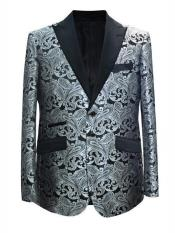 Patterned Print Floral Tuxedo Flower Jacket Prom Custom Celebrity Modern Tux Grey ~ Gray / White Cheap Printed Unique Black and Silver Suit
