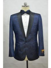 ID#SP25924 Prom Custom Celebrity Modern Tux Navy - Black Cheap Free Matching bowtie Affordable Cheap Priced Unique Fancy For Men Available Big Sizes on sale Mens Printed Unique Patterned Print Floral Tuxedo Flower Jacket