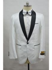 ID#SP25932 Cheap Mens Printed Prom Affordable Cheap Priced Unique Fancy For Men Available Big Sizes on sale Custom Celebrity Modern Tux White ~ Black Unique Patterned Print Floral Tuxedo Flower Jacket