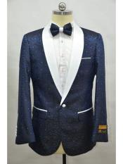 ID#SP25939 Printed Unique Patterned Print Affordable Cheap Priced Unique Fancy For Men Available Big Sizes on sale Floral Tuxedo Celebrity Modern Tux Navy Blue ~ White Flower Cheap Mens Jacket Prom Custom