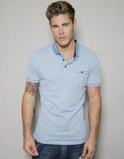 ID#SP25956 Mens Blue Short Sleeved Athletic Wear