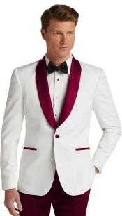 ID#SP25991 Slim Fit Tuxedo Mens  Burgundy Dinner Jacket