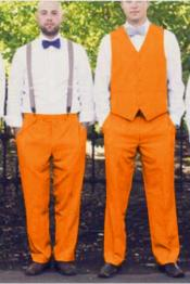 ID#SP26013 Matching Waistcoat Wedding ~ Prom Vest ~ Waistcoat ~ Waist coat & Flat Front Pants Set Orange