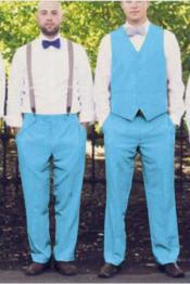 ID#SP26020 Matching Waistcoat Set Sky Blue Wedding ~ Prom Vests & Flat Front Pants