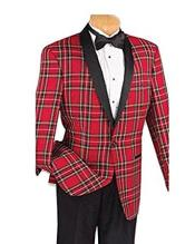 ID#SP26051 Perfect for Prom Affordable Cheap Priced Unique Fancy For Men Available Big Sizes on sale Red Plaid Tuxedo Jacket With Flat Front Black Pants