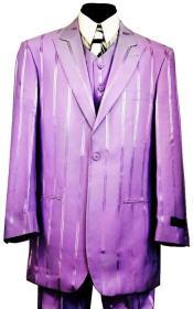 Reflective Stripes Three Piece Zoot Suit Set - Lilac