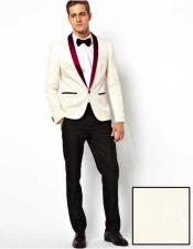 ID#SP26109 Mens Affordable Cheap Priced Unique Fancy For Men Available Big Sizes on sale One Button Burgundy Shawl Lapel White  Blazer