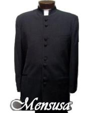 Collarless Blazer Nehru Black