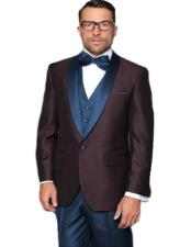 ID#SP26183 Alberto Nardoni Burgundy ~ Plum And Navy Blue Lapel Tuxedo Vested 3 Piece Suit Wedding / Prom / Party Suit