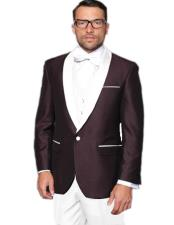 ! 3 Piece Suit Alberto Nardoni Burgundy ~ Plum And Wedding / Prom / Party Suit