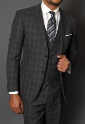 ID#SP26190 Three Piece 100% Wool Suit - Windowpane Plaid Texture No Pleated Pants Dark Charcoal Statement Vested Slim Fit Suit