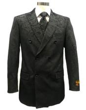 ID#SP26219 Buy Mens Double Breasted Blazer Velvet Fabric Paisley Affordable Cheap Priced Unique Fancy For Men Available Big Sizes on sale Pattern Black Blazer Sport Coat Jacket