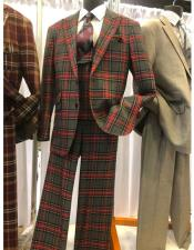 ID#SP26231 Mens Grey ~ Red Double Breasted Suit