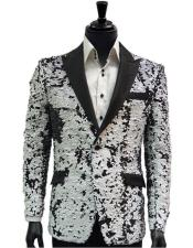 ID#SP26241 Mens Two Button Black ~ White  Breasted Suit