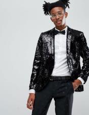 men's One Button  Black Tuxedo