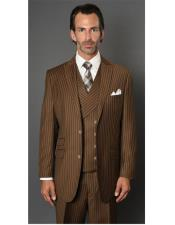 ID#SP26444 Mens Striped Pattern Bronze  Two Button Suit