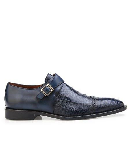 ID#SP26454 Mens Authentic Brand Slip On Leather Lining Single Buckle Blue Safari Cheap Priced Exotic Skin Belvedere Shoes - Mens exotic shoes For Sale For Men