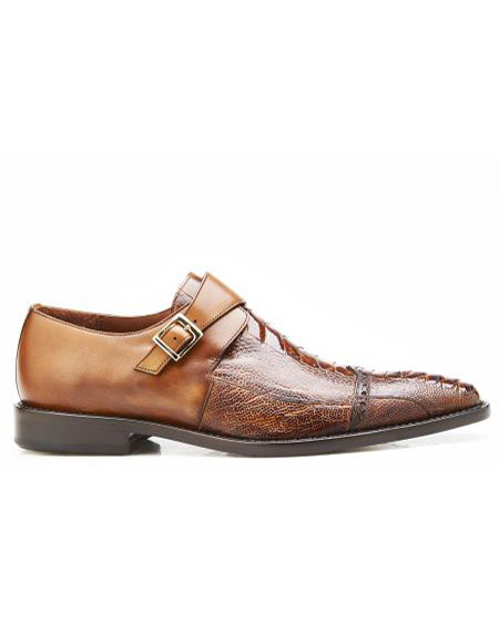 ID#SP26455 Mens Slip On Leather Lining Single Buckle Antique Almond Authentic Belvedere Brand Shoe