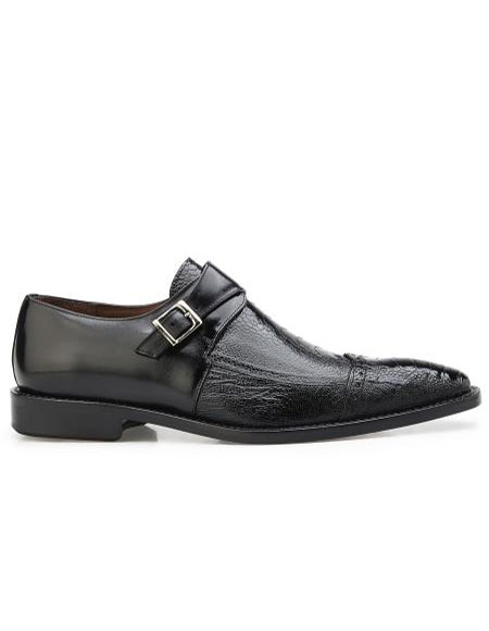 ID#SP26456 Mens Single Buckle Black Authentic Brand Slip On Leather Lining Cheap Priced Exotic Skin Belvedere Shoes - Mens exotic shoes For Sale For Men