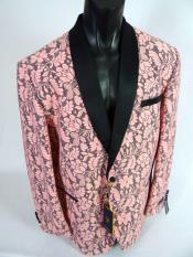 ID#SP26486 Mens  Shawl Lapel Jacket Blazer Pink Black